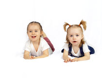 Two playing children royalty free stock photo