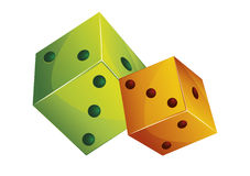Two playing dices. Cartoon illustration Stock Photography