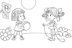 Two playing girls. Contour drawing of two funny playing girls Stock Image