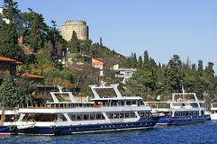 Two pleasure boats near Rumeli Fortress Stock Photo