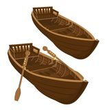 Two variants of brown wooden boat with paddles and without paddl. Two pleasure craft on white background Royalty Free Stock Image