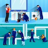 Two Plumber Horizontal Compositions Royalty Free Stock Photography