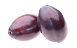 Two plums. On white background Stock Photo
