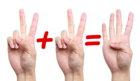 Two plus two equal four. Fingers showing two plus two equal four Stock Photos