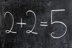 Two Plus Two Equals Five on Chalkboard Royalty Free Stock Photo