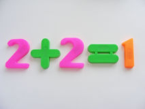 Two plus two equals one stock image