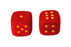 Two plush dice. Isolate on white photo Royalty Free Stock Image
