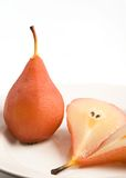 Two poached pears Stock Images