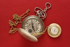Two pocket watches with chain Royalty Free Stock Images
