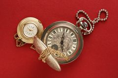 Two pocket watches with chain Stock Photos