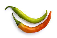 Two pods of hot pepper Stock Photo