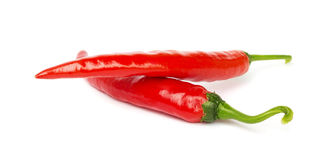 Two pods of hot pepper on a white Stock Photography