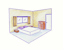 Two point perspective. Architectural colour illustration Royalty Free Stock Image