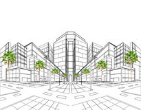 Two point perspective sketching plan of out door building Stock Photos