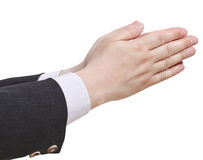 Two pointing hands - hand gesture Stock Photo