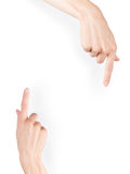 Two pointing hands isolated on white. Background and template. Clipping path included Stock Image
