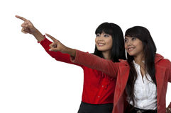 Two Pointing Women Stock Photos