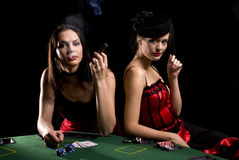 Two poker players Stock Photography