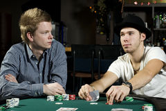 Two poker players Stock Photos
