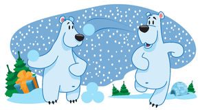 Two polar bears, characters, new year, snowballs. Royalty Free Stock Image