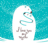Two polar bears hugging each other. Greeting card with the inscription I love you so much. Stock Photo