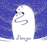 Two polar bears hugging each other. Greeting card with the inscription I love you. Royalty Free Stock Images