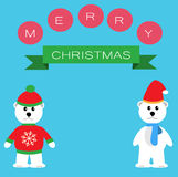 Two Polar bears for Merry Christmas Royalty Free Stock Photography