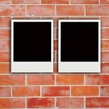 Two polaroids with  wooden texture Royalty Free Stock Photos