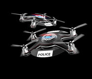 Two police drones on black background. Royalty Free Stock Images