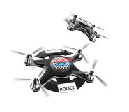 Two police drones isolate on white background. Original design Stock Photo