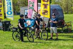 Two Police Offers on Bike Patrol Royalty Free Stock Photos