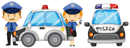Two police officers by the police car Stock Photos