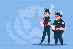 Two Police Women Holding Boxes With Office Staff Fired Wearing Uniform Female Guards On Blue Bricks Background. Flat Vector Illustration Royalty Free Stock Photo