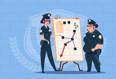 Two Police Women Planning Action On White Board Wearing Uniform Female Guards On Blue Bricks Background Royalty Free Stock Photography
