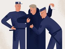 Two policemen dressed in uniform holding search male suspect or criminal. Man inspected by pair of police officers. Legal procedure, law enforcement. Flat stock illustration