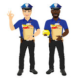 Two policemen holding paper bags full of fast food Royalty Free Stock Images