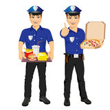 Two policemen holding tray full of fast food and pizza Royalty Free Stock Photo