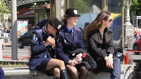 Two policewoman stock video