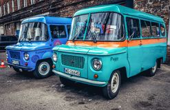 Two polish cars. Warsaw, Poland - April 3, 2017: Vintage Nysa 522 vans in Warsaw, Poland Stock Photo