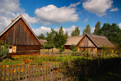 Two polish old cottages on polish countryside Royalty Free Stock Photo