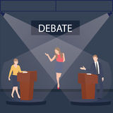 Two politician debate on stage podium public speaking contest presentation with moderator between them Royalty Free Stock Photo