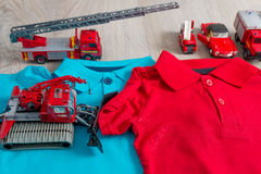 Two polo red and blue near set of car toy. Close up. Top view. Stock Photos
