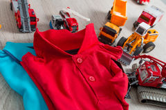 Two polo red and blue near set of car toy. Close up. Top view. Stock Photography