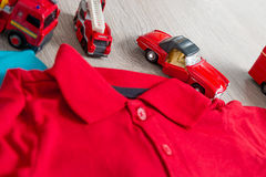 Two polo red and blue near set of car toy. Close up. Top view. Stock Image