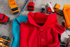 Two polo red and blue near set of car toy. Close up. Top view. Royalty Free Stock Photos