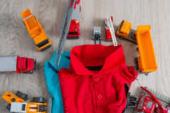 Two polo red and blue near set of car toy. Close up. Top view. Royalty Free Stock Images