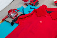 Two polo red and blue near set of car toy. Close up. Top view. Royalty Free Stock Photo