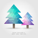 Two polygon christmas tree on merry christmas and happy new year. 2015 concept vector Royalty Free Stock Image