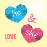 Two polygonal hearts like man and woman. Two polygonal hearts symbol of man and woman isolated on beige gradient background with inscription Royalty Free Stock Images