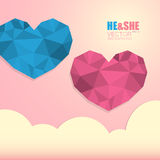Two polygonal hearts symbol of man and woman isolated on background with clouds. Two polygonal hearts symbol of man and woman isolated on light pink background Stock Image